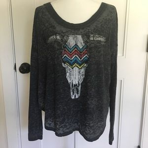 Chaser Gray Burnout Long Sleeve Cow Skull Tee